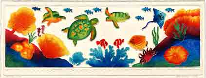 atlantic sea turtles sea life embossed art and sea life gifts, sea life paintings and sea life prints, by artists Jane Billman and Gregg Billman