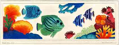 beneath the sea sea life embossed art and sea life gifts, sea life paintings and sea life prints, by artists Jane Billman and Gregg Billman