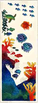 coral fantasy sea life embossed art and sea life gifts, sea life paintings and sea life prints, by artists Jane Billman and Gregg Billman