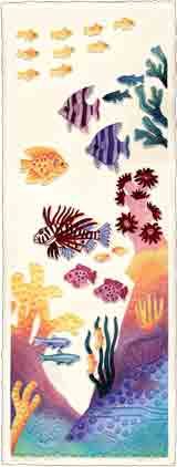 coral surprise sea life embossed art and sea life gifts, sea life paintings and sea life prints, by artists Jane Billman and Gregg Billman