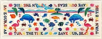 turn the tide save our seas sea life embossed art and sea life gifts, sea life paintings and sea life prints, by artists Jane Billman and Gregg Billman